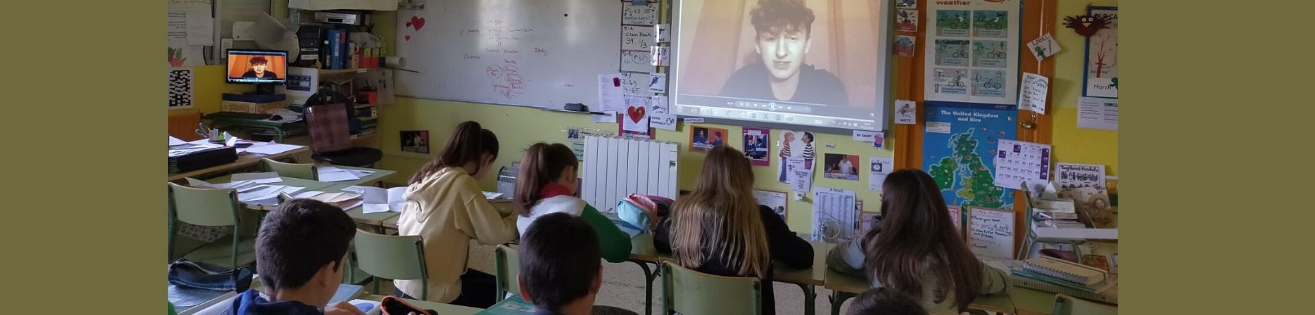 The classroom watching the video of Michael from Ireland