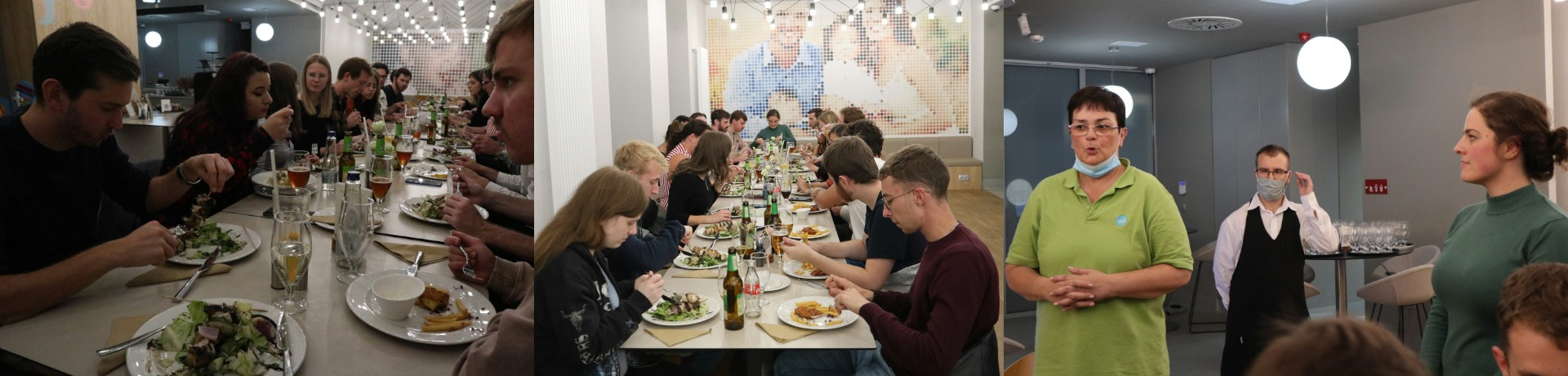 Erasmus students at Ízlelő Restaurant